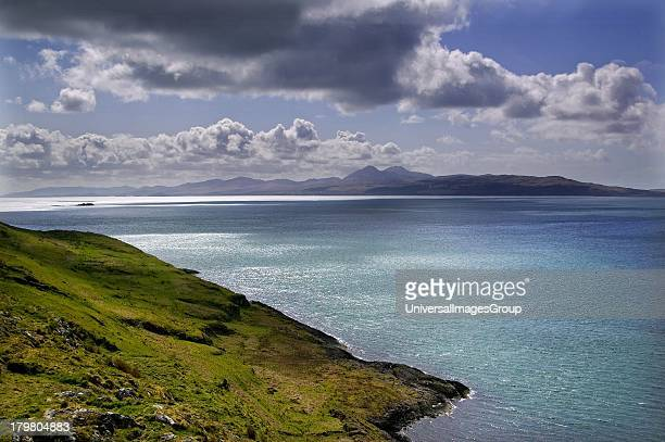 Dramatic coastal scenery towards the Island of Jura from Keilmore Tayvallich Argyll Scotland United Kingdom