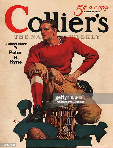 NEW YORK OCTOBER 12 A dramatic college football illustration in connection with the 1929 season is on the cover of Collier's magazine from New York...