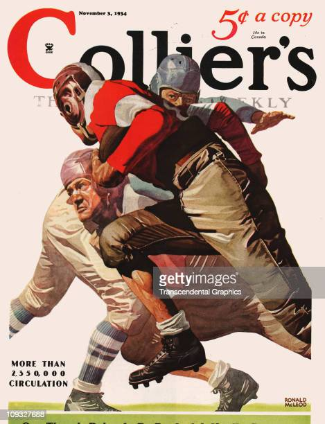 NEW YORK NOVEMBER 3 A dramatic college football illustration in connection with the 1934 season is on the cover of Collier's magazine from New York...