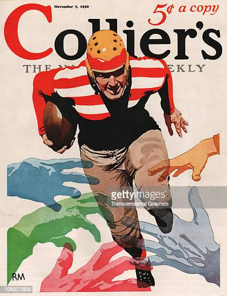 NEW YORK NOVEMBER 7 A dramatic college football illustration in connection with the 1936 season is on the cover of Collier's magazine from New York...