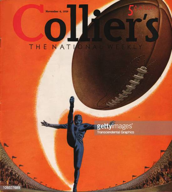 NEW YORK NOVEMBER 4 A dramatic college football illustration in connection with the 1939 season is on the cover of Collier's magazine from New York...