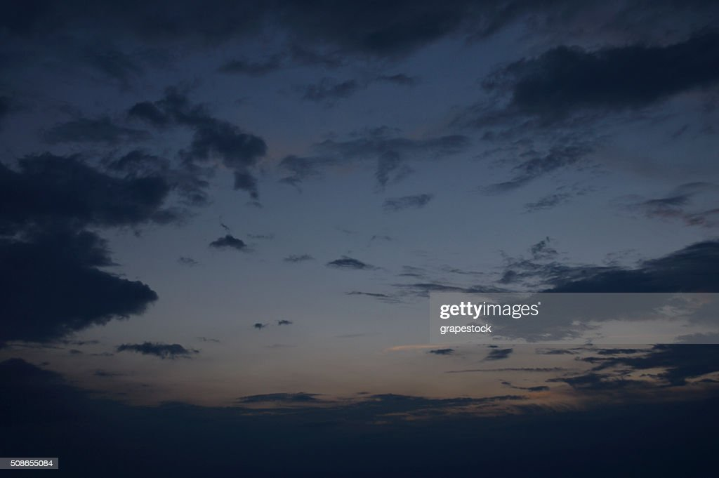 Dramatic dark sky before the storm at dusk : Stock Photo