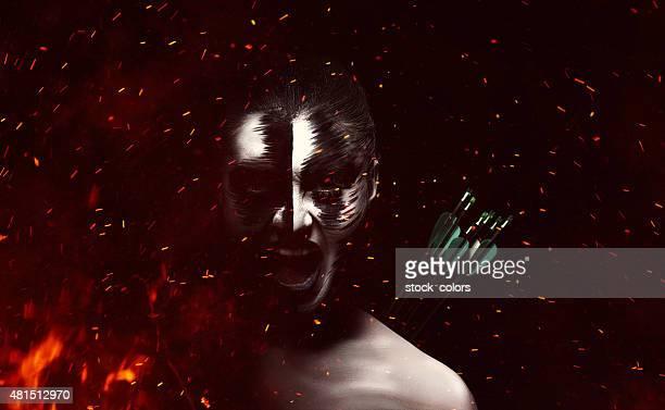 dramatic evil woman burning