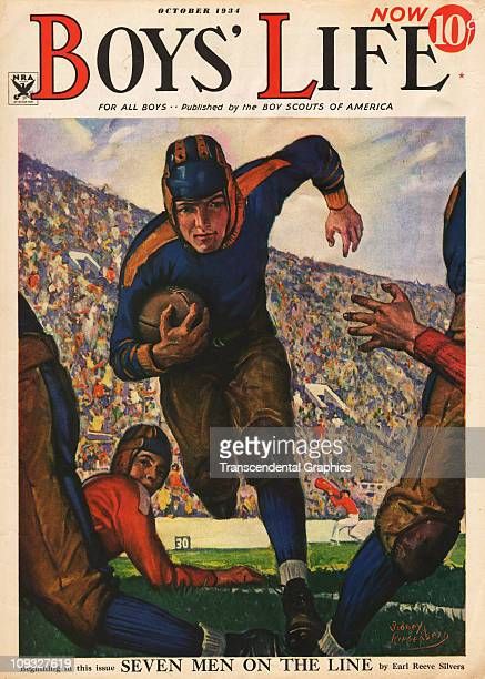 NEW YORK OCTOBER A dramatic football illustration is on the cover of Boys Life magazine from New York the October 1934 issue
