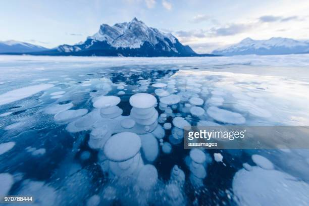 dramatic ice bubbles at Abraham Lake,Canada