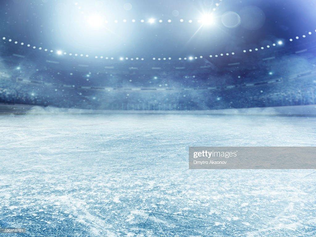 Dramatic ice hockey arena : Stock Photo