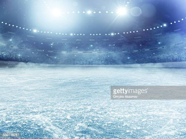 dramatic ice hockey arena - ice stock pictures, royalty-free photos & images
