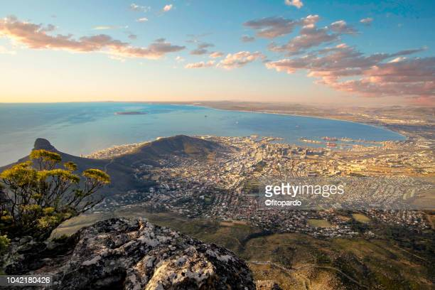 dramatic landscape and sunset of cape town - cape town stock pictures, royalty-free photos & images