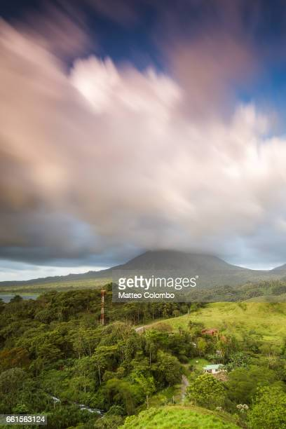 Dramatic landscape of Arenal volcano at sunset, Costa Rica