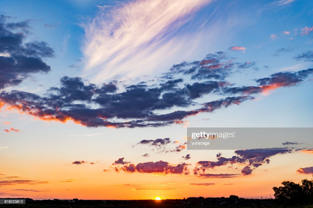 Dramatic landscape sunset : Stock Photo