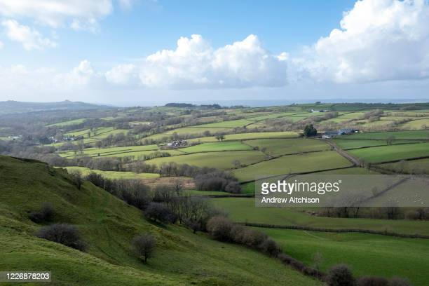 Dramatic landscape views of Carmarthenshire from Carreg Cennen Castle on 18th February 2019 in Trapp, Powys, Wales, United Kingdom.