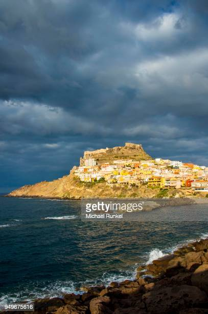 Dramatic light over the old town of Castelsardo, Sardinia, Italy