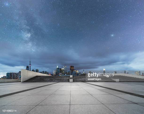 dramatic milky way over toronto skyline,canada - tower stock pictures, royalty-free photos & images