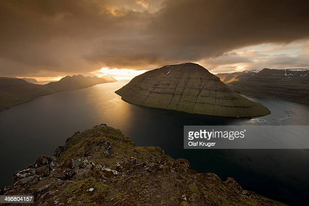 Dramatic mood lighting over the islands of Kalsoy, Kunoy and Bordoy, Borooy, Norooyar, Faroe Islands, Denmark