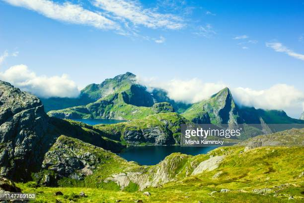 dramatic mountain scenery of lofoten islands, norway - northern norway stock pictures, royalty-free photos & images