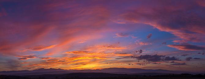 Dramatic Mountain Sunset Panorama 1149491342