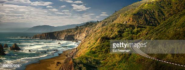 dramatic northern california coastline - california stockfoto's en -beelden