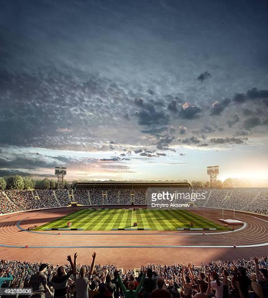 Dramatic olympic stadium with running tracks