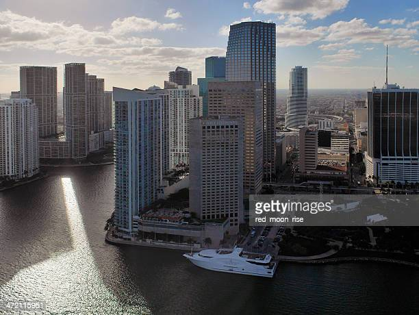 Dramatic Panorama of Downtown Miami from the air