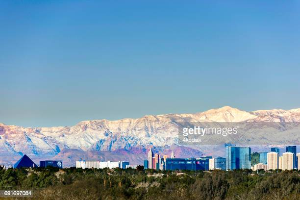 dramatic panorama of las vegas nevada in winter 2017 - mt charleston stock photos and pictures