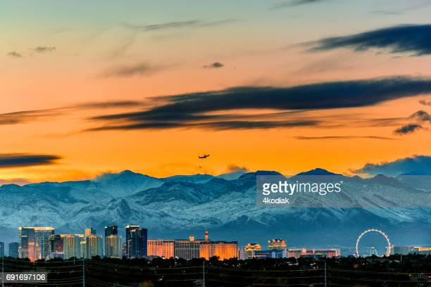 Dramatic Panorama of Las Vegas Nevada in winter 2017