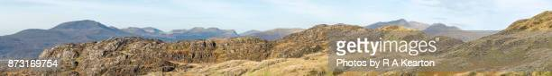 Dramatic panorama of rugged Snowdonia landscape, North Wales