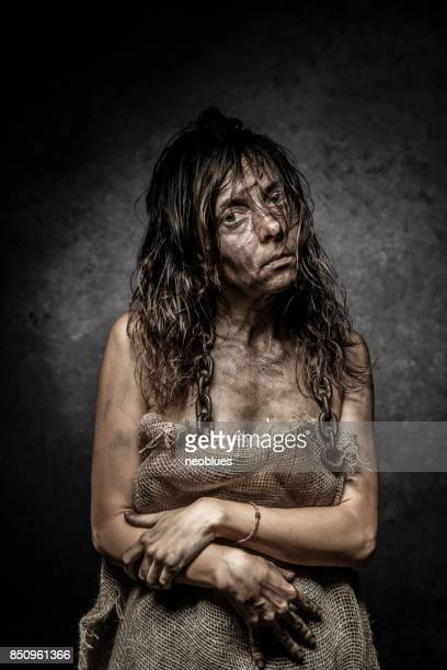dramatic portrait of a woman - zombie face stock photos and pictures
