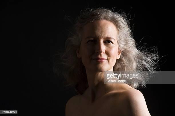 dramatic portrait of mid-aged woman horizontal