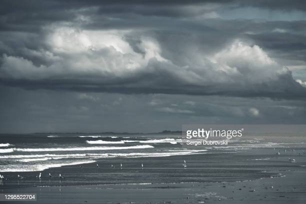 dramatic rainy cloudy sky over dark empty beach - sea of okhotsk stock pictures, royalty-free photos & images