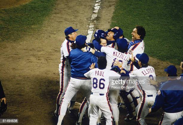 Dramatic rally for the New York Mets ended with this celebration after defeating the Boston Red Sox in Game Seven of the World Series at Shea Stadium...