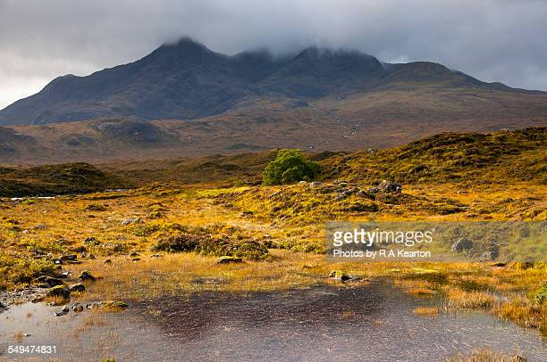 dramatic scenery at sligachan, isle of skye - glen sligachan photos et images de collection