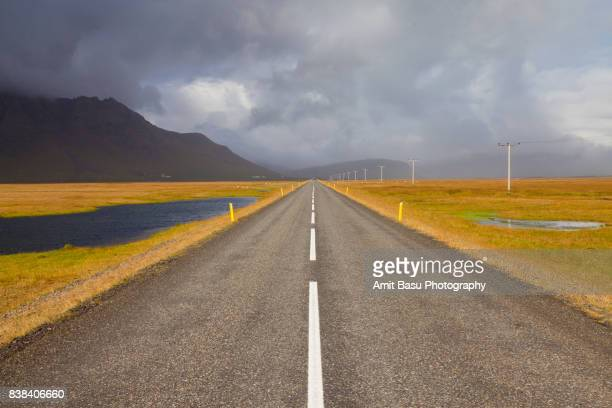 Dramatic scenery on an empty Highway 1 near Jökulsárlón, Iceland