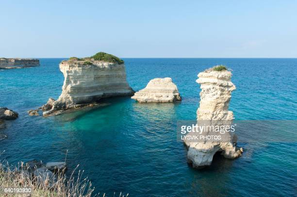 Dramatic sea stacks coastline Torre Sant'Andrea , Salento