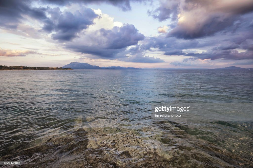 Dramatic sea view from Datca on a cloudy day in winter. : Stock Photo