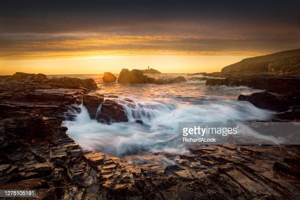 dramatic seascape image of north cornish coast - extreme terrain stock pictures, royalty-free photos & images