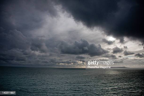 Dramatic seascape with a gloomy sky off the Dorset coastline taken on March 3 2008