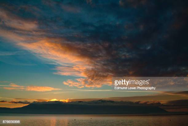 dramatic sky and sunset over orcas island, washington, usa. - puget sound stock pictures, royalty-free photos & images