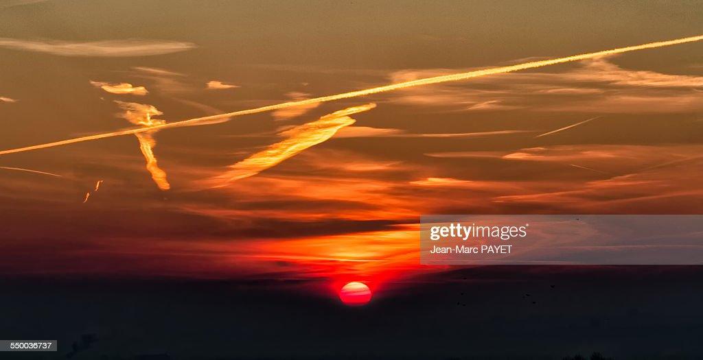 Dramatic sky at sunrise : Photo