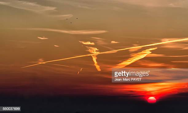 dramatic sky at sunrise with birds silhouettes - jean marc payet stockfoto's en -beelden