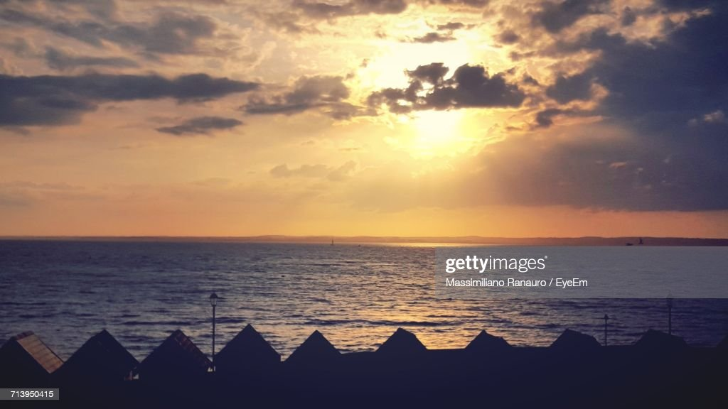 Dramatic Sky Over Sea During Sunset : Stock Photo