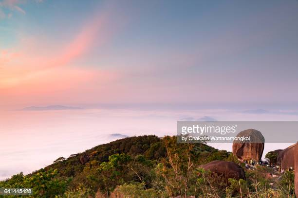 dramatic sky over sea of clouds (khao khitchakut mountain) - chanthaburi sea stock pictures, royalty-free photos & images