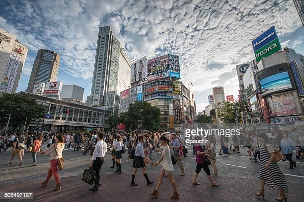 Dramatic sky over Shibuya Crossing