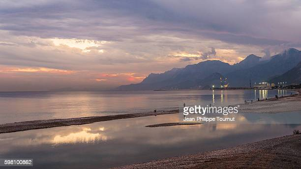 Dramatic sky over the Mediterranean Sea in Antalya, Southern Turkey