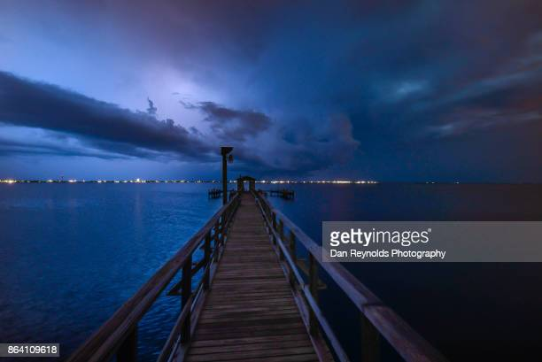 Dramatic Sky with Pier during Thunderstorm