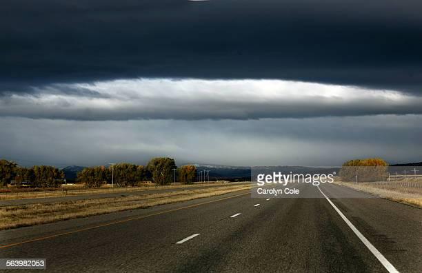 BOZEMAN MONTANA – Dramatic skyline along Interstate 95 between Billings and Bozeman Montana
