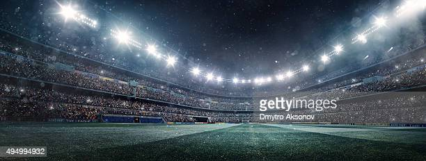 dramatic soccer stadium panorama - stadium stock pictures, royalty-free photos & images