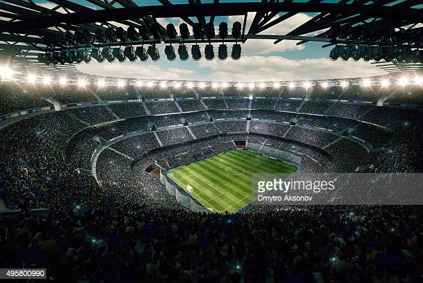 dramatic soccer stadium upper view - stadion stockfoto's en -beelden