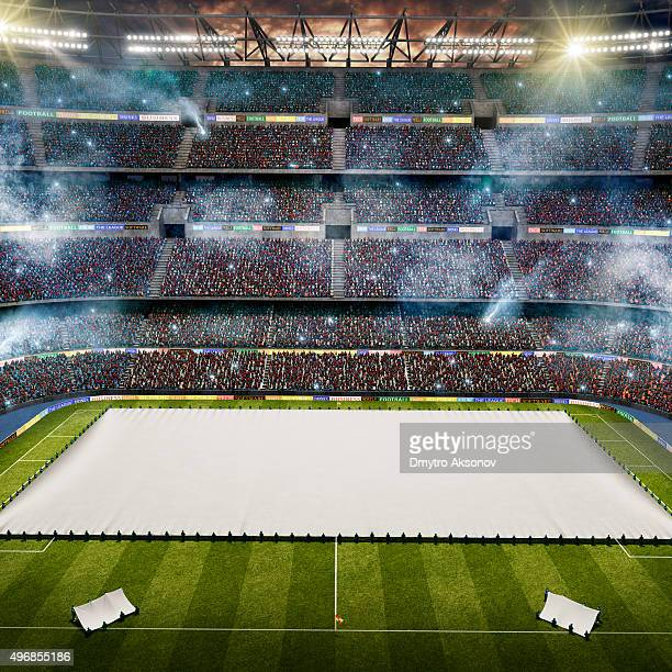 Dramatic soccer stadium with emtry flags