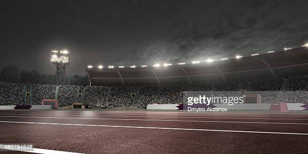 dramatic . stadium with running tracks - soccer scoreboard stock photos and pictures
