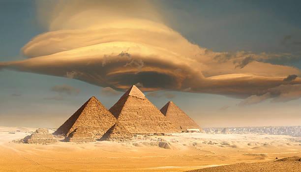 Dramatic Storm Cloud Above Pyramids, Giza, Egypt Wall Art
